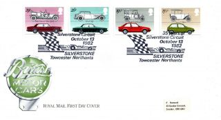 13 October 1982 British Motor Cars Royal Mail First Day Cover Silverstone Shs photo