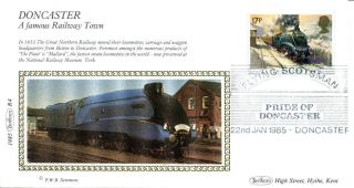 22 Jan 1985 Famous Trains Benham Small Silk First Day Cover Flying Scotsman Shs photo