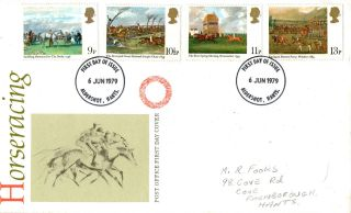 6 June 1979 Horseracing Post Office First Day Cover Aldershor Fdi photo
