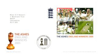 6 October 2005 The Ashes Miniature Sheet Royal Mail First Day Cover London Se10 photo