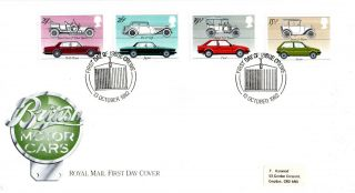 13 October 1982 British Motor Cars Royal Mail First Day Cover Crewe Shs photo