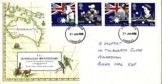 21 June 1988 Australian Bicentenary Royal Mail First Day Cover London Ec Fdi photo