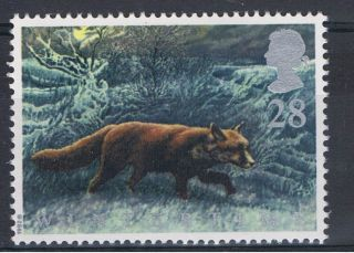 Fox At Night In The Fens Illustrated On 1992 British Stamp - Nh photo