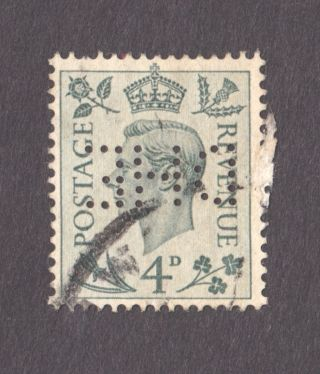 1938 George Vi 4d Grey Green Perfin Dhe Upside Down photo