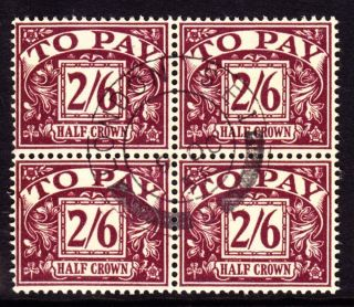 Sg D54 1957 2/6d Purple/yellow Postage Due Cds Block Of 4 photo