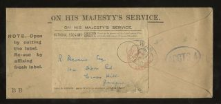 Gb 1924 Official Ohms War Office To Scotland. . .  Early Re Useable Envelope photo