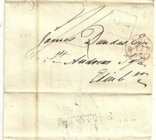 1820 Scarce Boxed ½d Mail Tax Of Paisley Wrapper Johnstone To James Dundas Edinb photo