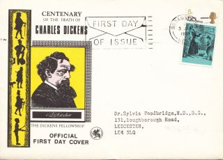 (17386) Fdc Charles Dickens - Broadstairs Slogan 3 June 1970 photo