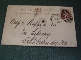 1879 Postmark 805 - Torquay Terra Cotta Co Postcard To Saltburn By The Sea photo