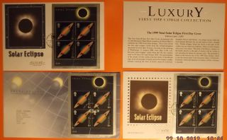 Fdcx 3 - Value £66 - Mercury Silk Solar Eclipse Inc.  Ltd Editions - Special P/marks photo