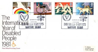 25 March 1981 Year Of Disabled People Post Office First Day Cover Drivers Club photo