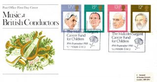 10 September 1980 Famous Conductors Po First Day Cover Cancer Fund For Children photo