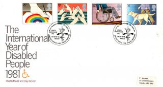 25 March 1981 Year Of Disabled People Po First Day Cover Raf Hedley Court Shs photo