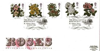 16 July 1991 Roses Royal Mail First Day Cover The Royal National Rose Society photo