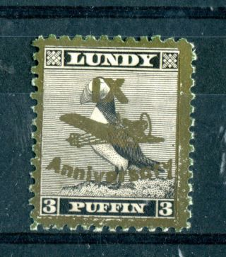 Lundy Island 1943 Xi Anniversary Overprint 3 Puffin Gold On Black A photo