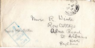 Gb May 1919 World War 1 Soldiers Post Envelope Field Post Office & Censor Can photo