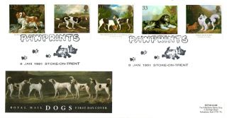 8 January 1991 Dogs Royal Mail First Day Cover Pawprints Stoke On Trent Shs photo