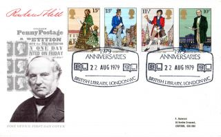 22 August 1979 Sir Rowland Hill Post Office First Day Cover British Library Shs photo