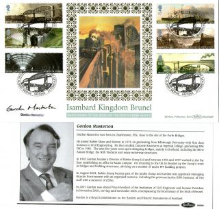 2006 Isambard Kingdom Brunel Signed Gordon Masterton Benham First Day Cover Shs photo