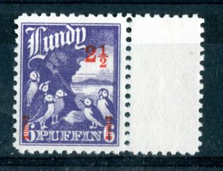 Lundy Island 1943 Overprint 2 1/2 Puffin Red On 6 Puffin Violet Marginal photo
