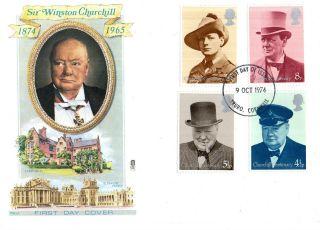 9 October 1974 Sir Winston Churchill Centenary Philart Fdc Truro Fdi photo