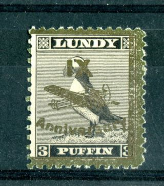 Lundy Island 1943 Xi Anniversary Overprint 3 Puffin Gold On Black B photo
