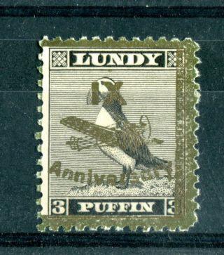 Lundy Island 1943 Xi Anniversary Overprint 3 Puffin Gold On Black B photo