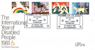 25 March 1981 Year Of Disabled People Po First Day Cover Stars Exhibition Shs photo