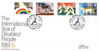 25 March 1981 Year Of Disabled People Po First Day Cover Stoke Mandeville Shs photo