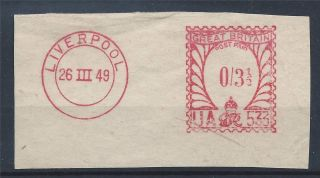 Gb Kgvi 1949 Post Paid 3 1/2d Cut Out Liverpool Cds A 005 photo