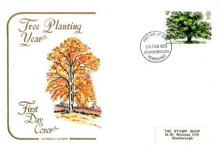 28 February 1973 The Oak Tree Cotswold First Day Cover Scarborough Fdi photo