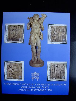 1998 Italy Stamp Expo Miniature Sheet From Vatican photo