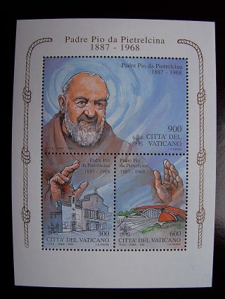 1999 Padre Pio Miniature Sheet From Vatican photo