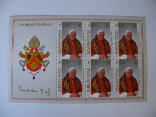 2005 Pope Benedictus Stamp Sheet 1 From Vatican photo