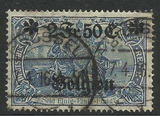 Belgium - German Occupation.  1914.  2f50 On 2m Blue.  Sg: 9.  Fine. photo