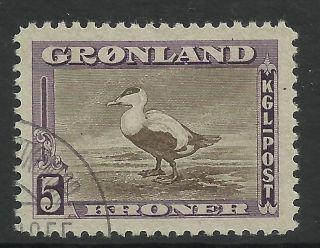 Greenland.  1945.  5k Brown & Purple,  Eider Duck Definitive.  Sg: 16.  Fine. photo
