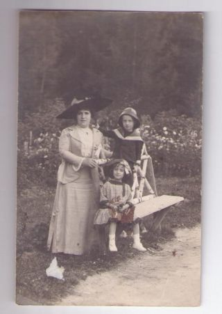 1912 Romania Real Photo Pc Postcard B&w Woman With Children photo