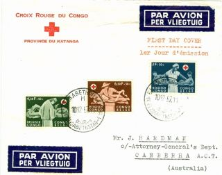 Belgian Congo,  Fdc Air Mail Cover Red Cross 1957 To Australia photo