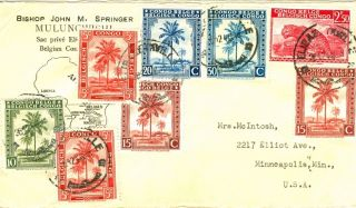 Belgian Congo,  Missionary Cover From Elisabethville To Usa 1946 photo