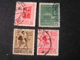 Italy Social Republic Scott 18 - 21 (4),  1944 Local Scenes Issue photo