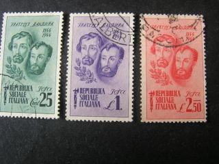 Italy Social Republic Scott 32 - 34 (3),  1944 Bandiera Brothers Issue photo