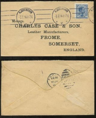 Denmark 1914 Envelope Charles Case Frome. . .  Late Use Of Gb 306 Duplex On Arrival photo