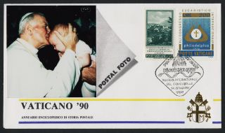 Vatican 415,  593 Vaticano 90 Photo Cover,  Pope John Paul Ii,  Agosto Cancel photo
