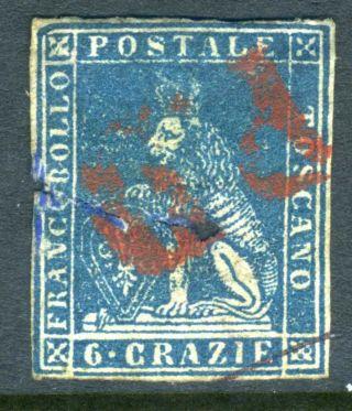 Italy 1857 Tuscany 6cr Deep Blue On White Paper Vfu (x308) photo