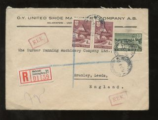 Finland 1947 O.  Y United Shoe Envelope Regist.  To Gb photo