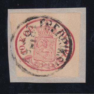 Finland Sc 2 1856 10k Rose Coat Of Arms On Piece,  Cert.  Xf photo