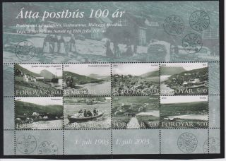 Faroe Islands 100 Years Of The Old Post Office Sheet Of 8 Scott 435 photo