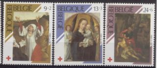Belgium Red Cross - 3vals - Paintings Vdweyden - G.  David - 1989 - Madonna - Crucifixion photo