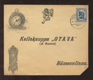 Finland 1921 Lion Provisional 1 1/2m Solo Franking On Ill.  Clock Cover. . .  Late Use photo