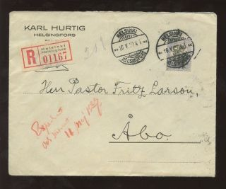 Finland 1927 Regist.  Cover Lion 3m Solo Franking To Fritz Larsson photo